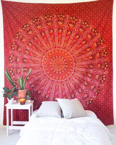 Red Mandala Tapestry – The Bohemian Shop Bohemian Living Rooms, Bohemian Room, Bohemian Bedroom Decor, Bohemian House, Home Decor Bedroom, Entryway Decor, Bedroom Inspo, Wall Decor, Wall Art