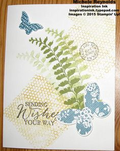 Handmade card by Michelle Hundertmark using Stampin' Up! products - Butterfly Basics Stamp Set  and Butterflies Thinlits.  Made by Michelle Hundertmark.  Inspiration Ink, http://inspirationink.typepad.com/inspiration-ink/2015/04/butterfly-basics-samples-from-team-meeting.html.  #stampinup #inspirationink #butterflybasics