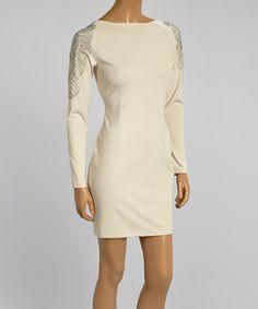 Look what I found on #zulily! Tan Shimmer-Detail Bodycon Dress - Women #zulilyfinds