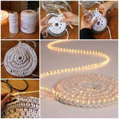 Crochet Night Light Rug. So cool, but my rope lights say not to cover them or step on them :(
