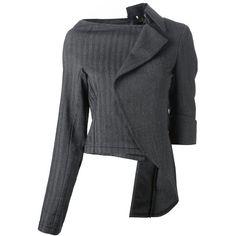 Comme Des Garçons Vintage asymmetrical sculpture jacket (£845) ❤ liked on Polyvore featuring outerwear, jackets, tops, grey, wrap jacket, long sleeve jacket, asymmetrical jacket, grey jacket and vintage jackets