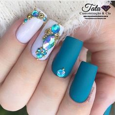 Best Beauty Nails Part 8 Gel Uv Nails, Gem Nails, Diamond Nails, Bling Nails, Hair And Nails, Acrylic Nails, Colorful Nail Designs, Beautiful Nail Designs, Cute Nails