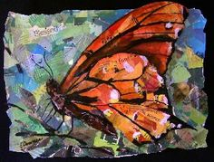 butterfiy, eileen downes, collage, 20th street art gallery, torn paper