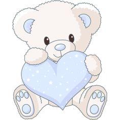 Sticker de nounours bleu et gris avec des coeurs pour d corer une chambre de b b d coration - Decoration ourson pour bebe ...