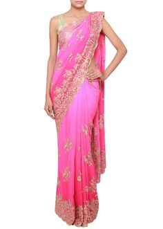 Pink shaded georgette saree embellished in gold zari and kundan only on Kalki - Kalkifashion.com
