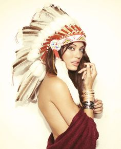 girl in an indian war bonnet /