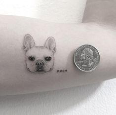 The 15 Most Original French Bulldog Tattoos Hongdam Tattoo, Dog Tattoos, Mini Tattoos, Animal Tattoos, Piercing Tattoo, Body Art Tattoos, Small Tattoos, Tatoos, Tiger Tattoo