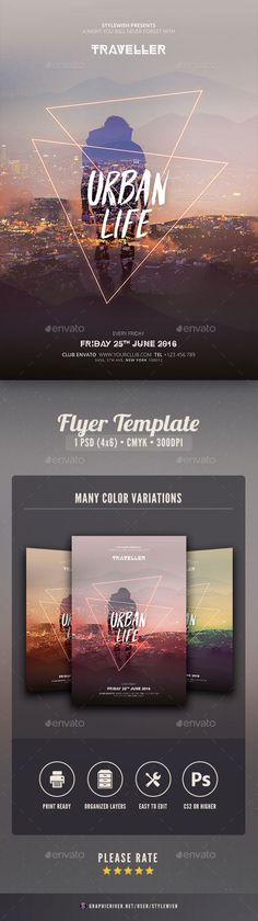 Buy Urban Life Flyer by styleWish on GraphicRiver. Urban Life Flyer Template This flyer template is designed with the city as main inspiration. Graphisches Design, Flyer Design, Layout Design, Creative Design, Print Design, Colegio Ideas, Banners, Party Photography, House Photography