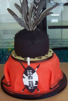 Swazi insired Zulu Traditional Wedding, Traditional Wedding Invitations, Traditional Cakes, African Wedding Cakes, African Wedding Theme, African Weddings, African Cake, Olive Green Weddings, Themed Wedding Cakes