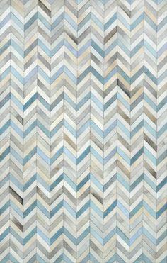 neutral + touch of blue herringbone cowhide rug // rugs usa