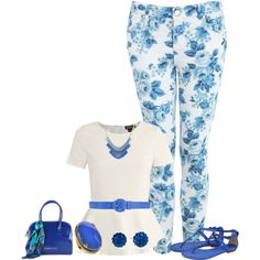"""Blue Floral"" by mdcampbell on Polyvore"