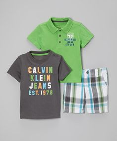 Love this Green & Gray Polo Set - Infant on #zulily! #zulilyfinds