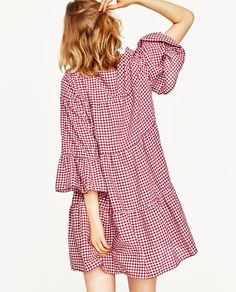 Image 4 of GINGHAM MINI DRESS from Zara