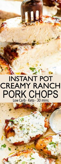 Tender pork chops cooked in the Instant Pot & smothered with a creamy ranch sauce. This easy pork chop recipe is a perfect one pot meal for busy weeknights! pot recipes easy pork Easy Instant Pot Pork Chops Recipe with Creamy Ranch Sauce Easy Pork Chop Recipes, Pork Recipes, Cooking Recipes, Dinner Recipes With Pork Chops, Meals With Pork Chops, Pork Chop Meals, Pork Chop Sauce, Pork Chop Dinner, Skillet Recipes