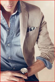 Casual linen jacket with classy pocket square, denim shirt, breitling (?)