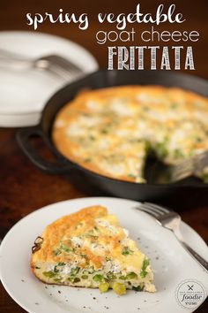 Spring Vegetable Goat Cheese Frittata #frittata #foodporn #dan330 http ...
