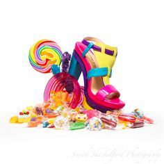 candy and shoe still life