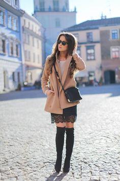 Beige Coat + Black Lace Short Skirt + Black High Thigh Boots