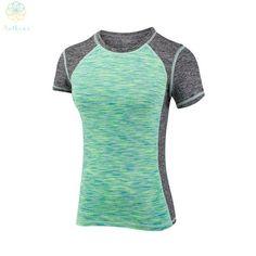 Women Running T-Shirt Slim Sports Colourful Top Tees
