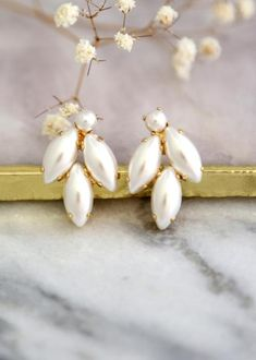 Buy Now Pearl Earrings Bridal Pearl Stud Earrings White Pearl... White Earrings, Pearl Stud Earrings, Pearl Studs, Turquoise Earrings, Emerald Earrings, Bridal Bracelet, Bridal Earrings, Bridal Jewelry, Jewelry Gifts