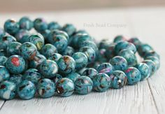 10 mm Beads Mother of Pearl Shell & Resin Aqua by FreshBeadsCo, $3.50