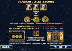 играть на автомате Pharaohs secrets. Бесплатный игровой слот автомат Секреты фараона порадует большой отдачей и хорошими бонусами.