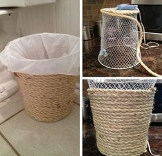 Dollar store crafts and ideas make excellent decor, accessories, activities, and gifts for your homestead. Check out this list of 54 dollar store crafts, then head over to your own dollar store and…Dollar Store Trash Can MakeoverBedroom Decor Ideas Rope Crafts, Fun Diy Crafts, Diy Craft Projects, Creative Crafts, Creative Storage, Craft Ideas, Simple Crafts, Adult Crafts, House Projects