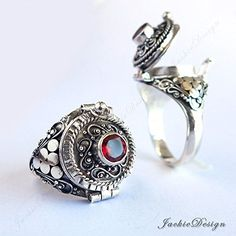 Red Garnet Stone Poison Ring Bali Sterling Silver Secret Compartment Jewelry JD13 -- To view further for this item, visit the image link. (Amazon affiliate link)
