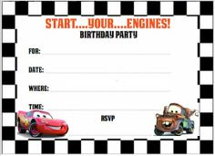 Free Printable Disney Cars Birthday Party Invitations Koran Sticken Co