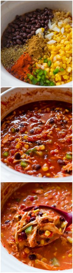 Set it and forget it Slow Cooker Chicken Chili! This is my favorite easy weeknight dinner recipe on sallysbakingaddic...