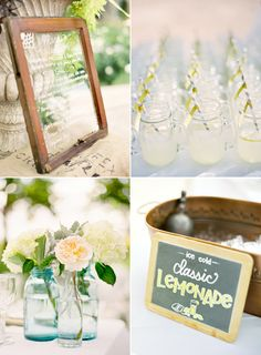 Love the lemonade stand mason jars, but also the glass pane with menu written on it. Farm Wedding, Diy Wedding, Rustic Wedding, Wedding Day, Party Planning, Wedding Planning, Belle Bridal, Cocktails Bar, Here Comes The Bride