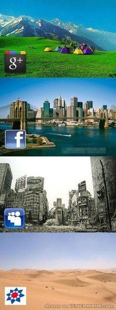 If social networks were landscapes ... Google+, Facebook, MySpace & StudiVZ