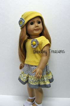 American Girl Doll Clothes - chevron ruffle skirt, top, and hat - 18 inch doll clothes