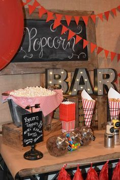 Vintage popcorn birthday party! See more party ideas at http://CatchMyParty.com!