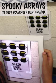Free Halloween Math Activity- Spooky Arrays QR Code Scavenger hunt. Includes both multiplication & repeated addition versions! Great way to integrate technology and iPads.