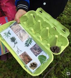 "The post ""Also love this idea of using the egg carton not only for collecting nature walk findings, but also for a nature scavenger hunt list and collection container in one"" appeared first on Pink Unicorn activities Wedding Outdoor Education, Outdoor Learning, Home Learning, Outdoor Play, Forest School Activities, Nature Activities, Learning Activities, Preschool Activities, Preschool Camping Activities"