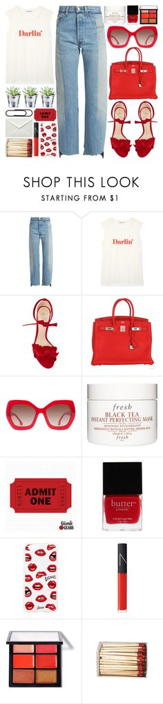"""""""Darlin'"""" by sophieelise97 ❤ liked on Polyvore featuring Vetements, Rebecca Minkoff, Alexandre Birman, Hermès, Alice + Olivia, CO, Fresh, Butter London, Sonix and NARS Cosmetics"""