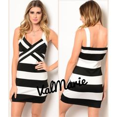 """❗️LAST 1 SZ M- Black & White Mini Cocktail Dress NEW! This black and white cocktail dress is so sexy and cute. I bought them to sell but will definitely be keeping one for myself. It has a nice light weight stretchy material and the stripes actually hid the imperfections in my backside 😉 length is approximately 31"""". get them now! Dresses Mini"""