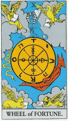 Interpreting The Wheel of Fortune tarot card. It's upright and reversed meaning in a tarot card spread. Tarot Waite, Rider Waite Tarot Cards, Anubis, Wheel Of Fortune Tarot, Tarot Interpretation, Tarot Tattoo, Fortune Cards, Hxh Characters, Tarot Decks
