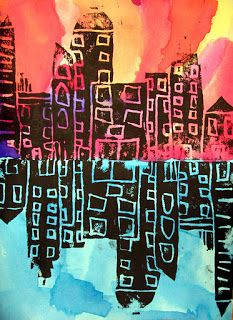 Art in the Big Green Room: 4th Grade Cityscape Reflections