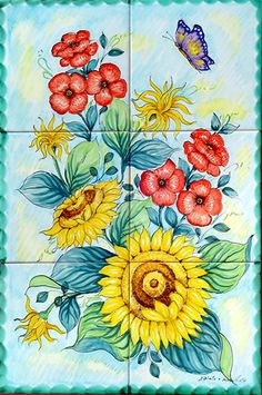 Flower Painting - Vertical Ceramic Tile Mural - Vertical Wall Art - Backsplash Tiles - Gardening Decor - Any Indoor and Outdoor Tiles