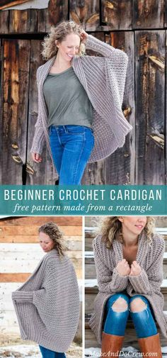 This free crochet cardigan pattern uses two simple rectangles to create a figure-flattering, on-trend, super wearable sweater. Very beginner friendly tutorial featuring Lion Brand Heartland yarn. via @makeanddocrew