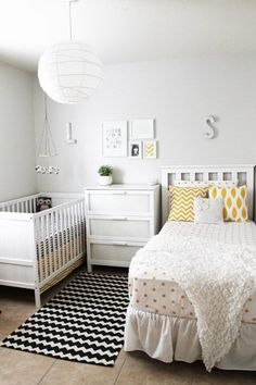 Toddler and baby room--for when baby is old enough to sleep through the night without disturbing the toddler!  I love the look of this room: the wall art, the furniture pieces themselves, and the setup of the furniture.