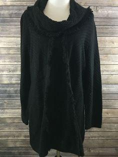 Style & Co. Women's Black Fringe Cowl Neck Tunic Sweater Size XXL NEW…