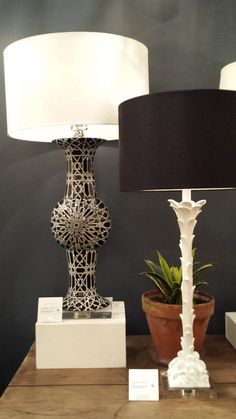 Striking and #OnTrend - #BalckAndWhite Table Lamps @curreyco  Showroom Tour - Lynda Quintero-Davids #DesignOnHpmkt  #HPMKT 2015