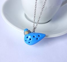 Ocarina of time necklace Zelda blue geeky