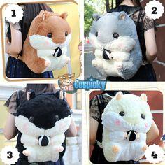4 Colors Kawaii Hamster Plush Backpack CP164963