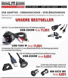 Weitere USB Adapter, Einbaubuchsen und Verlängerungen findest du unter Handy Tablet Zubehör / USB Kabel & Adapter. Dort findest du auch unsere Lightning USB Kabel Ladekabel für Apple Mobilgeräte. http://www.wm-outlet-store.de