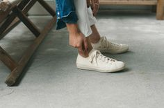 Men's White high top canvas sneakers Novesta Star Dribble