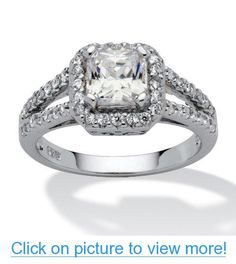 1.63 TCW Princess-Cut Cubic Zirconia Platinum over Sterling Silver Engagement Anniversary Ring #TCW #Princess_Cut #Cubic #Zirconia #Platinum #Sterling #Silver #Engagement #Anniversary #Ring